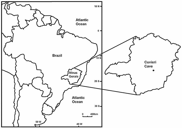 Map of the Cuvieri Cave location in Brazil